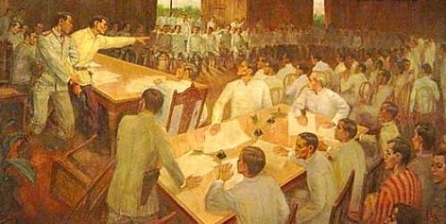Ang pagbunot ng baril ni Andres Bonifacio upang hamunin ng duwelo ang uminsulto sa kanyang pagkatao na si Daniel Tirona sa Kumbensyon ng Tejeros, 22 March 1897.