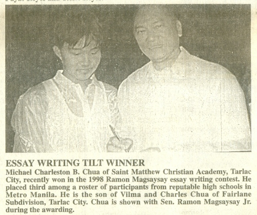 essay about ramon magsaysay Ramon magsaysay essay writing contest 2016 2016 ramon magsaysay essay writing contest 2016 2016 professional writers all our writers are seasoned academic writing professionalsramon magsaysay award foundation 5th ramon magsaysay student essay competition (rmsec): grand prize winners are known the ramon magsaysay.