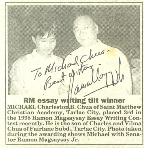ramon magsaysay essay writing contest 2003 To the land of my lord by tm krishna (carnatic musician and winner of the 2016 ramon magsaysay award) in the indian express in.