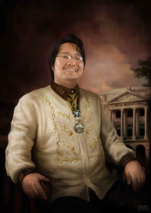 SIR MICHAEL CHARLESTON B. CHUA, K.C.R., KNIGHT COMMANDER OF RIZAL AND LASALLIAN EDUCATOR.  The 2013 Portrait by digital artist Bon Jovi Bernardo, featuring the uniform of the International Order of the Knights of Rizal and its decorations for the rank Knight Commander of Rizal and Distinguished Service Medal conferred on Xiao Chua.