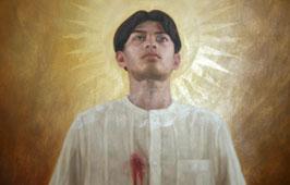 Ipininta ni Alfredo Esquillo batay sa mga larawan ni Alan Bengzon  ng modelo sa santo na si Ronak Tubid.  Nasa bungad na bulwagan ng Loyola School of Theology ng Pamantasang Ateneo de Manila.