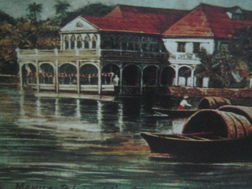 Ang lumang Malacanang na may mga mangingisda, mula sa Old Manila ni Jose Ma. Zaragosa.