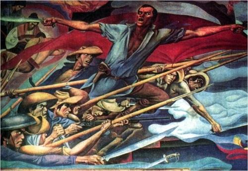 """Ang Pagsalakay ni Andres Bonifacio sa Pinaglabanan sa madaling araw ng August 30, 1896.  Kung gayon, paano siya nakatulog at hindi nakapaghudyat kung naroon nga sila sa San Juan?  Mula sa """"History of Manila,"""" mural ni Carlos V. Francisco, na nasa City Hall ng Maynila."""