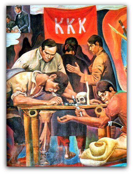 """Sanduguan sa Katipunan,.  Detalye ng mural na """"History of Manila"""" ni Carlos V. Francisco."""
