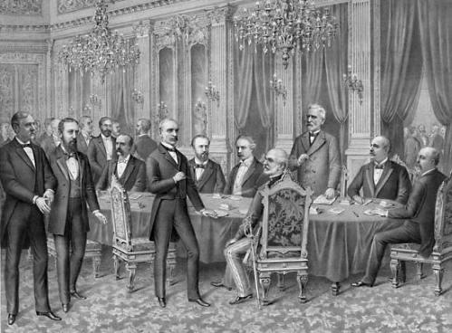 Ang pag-uusap para sa kapayapaan sa pagitan ng Estados Unidos at Espanya sa Paris noong 1898.