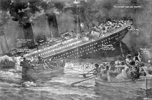 Matandang paglalarawan ng paglubog ng Titanic sa unang paglalayag pa lamang, April 15, 1912.