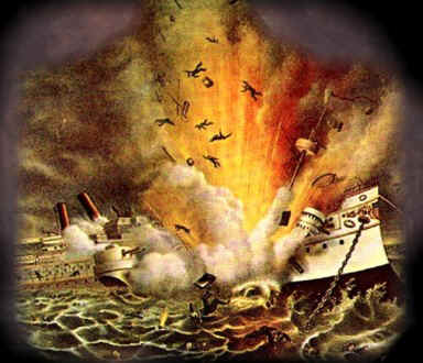 Pagsasalarawan ng pagsabog ng USS Maine sa pantalan ng Havana, Cuba.