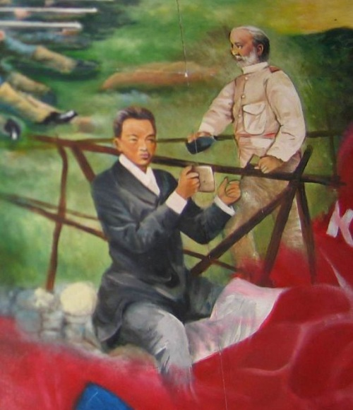 Detalye ng mural ukol sa kasaysayan ng Pilipinas sa bukana ng ikalawang palapag ng Palma Hall (AS 2nd floor lobby) na nagpapakita ng pakikipag-usap ni Hen. Emilio Aguinaldo sa mga Amerikano.