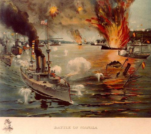 Paglalarawan sa Battle of Manila Bay na pinagwagian ni Dewey laban sa armadang Espanyol, May 1, 1898.