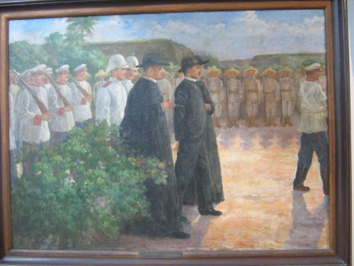Rizal arrives at the execution site.  Rizal Shrine in Calamba, National Historical Commission of the Philippines.