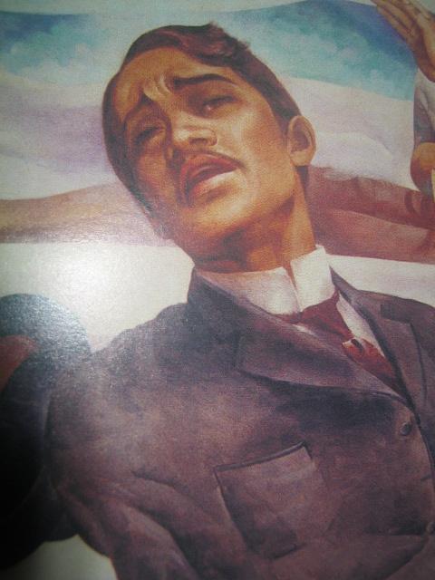 """""""Fuego!"""" Detalye ng wall painting ni Carlos V. Francisco para sa Sentenaryo ng Kapanganakan ni Rizal noong 1961.  Nakalagak ngayon sa Dambanang Rizal sa Fort Santiago, Pambansang Komisyong Pangkasaysayan ng Pilipinas."""
