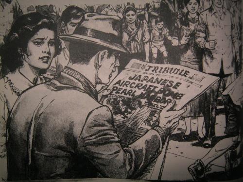 Pagkalabas ng simbahan matapos ang misa para sa Inmaculada Concepcion, tumambad ang balita ng digmaan, December 8, 1941.  Paglalarawan mula sa Childcraft ng World Book.
