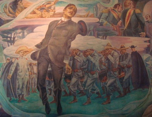 """""""Fuego!"""" Detail from a mural by Carlos """"Botong"""" Francisco at the Rizal Shrine at Fort Santiago, National Historical Commission  of the Philippines."""