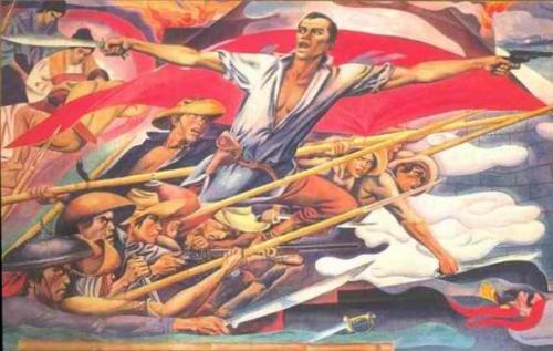 "Bonifacio, Father of the Filipino Nation and Initiator of the Philippine Revolution.  Detail from the mural ""History of Manila"" by Carlos ""Botong"" Francisco at the Manila City Hall."