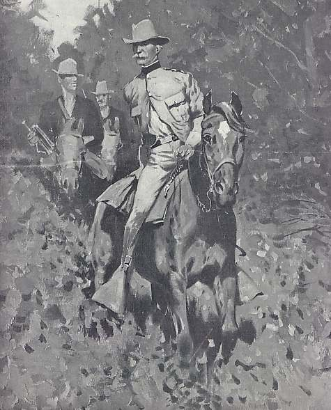 Si Lawton habang nangangabayo.  Obra mestra mula sa California Military Museum.
