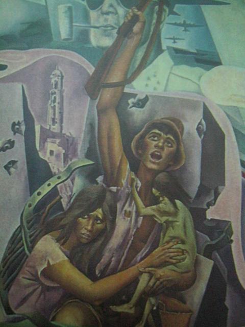 """Nakikibakang Pinoy.  Detalye ng mural na """"Kasaysayan ng Maynila"""" ni Carlos """"Botong"""" Francisco na ngayon ay nasa Tanggapan ng Alkalde, City Hall ng Maynila."""