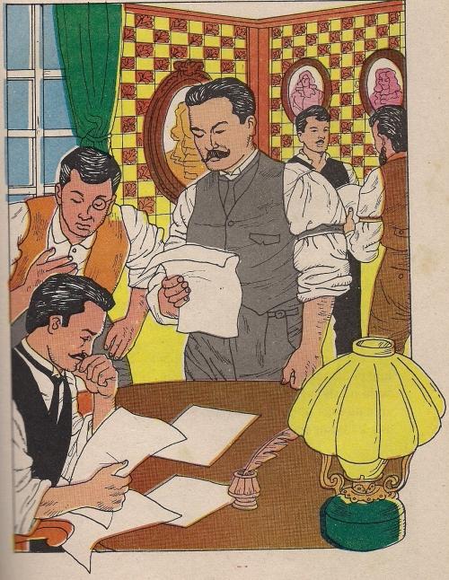 Marcelo H. del Pilar bilang patnugot ng La Solidaridad.  Mga dibuho mula sa Adarna Publishing House.