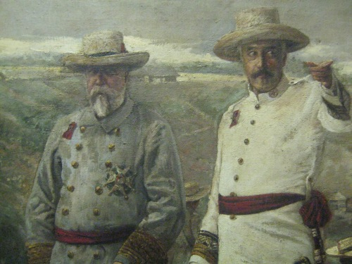 "Detail from ""Governor Ramon Blanco and his Troops"" by Felix Martinez, 1895.  National Art Gallery, National Museum of the Philippines."