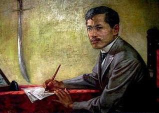 """""""Rizal, The Reformist.""""  Obra-maerstra ni Martino A. Abellana.  Nasa Pambansang Sinupan ng Sining, Pambansang Museo ng Pilipinas."""