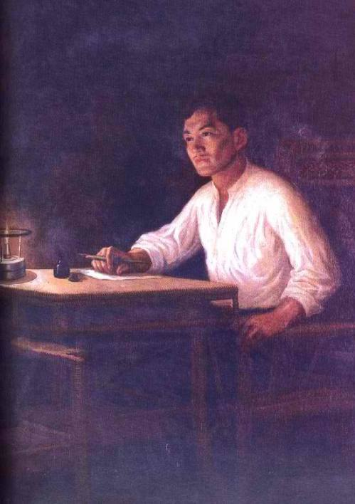 Rizal Writing His Farewell Letter by B. Gonzales.  Rizal Shrine in Fort Santiago, National Historical Commission of the Philippines.