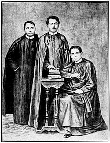 Pinagsususpetsahang composite na larawan nina Padre Mariano Gomes, Padre Jacinto Zamora at Padre Jose Burgos.