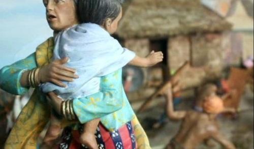 Ang pagtalon ng mag-ina ni Sultan Kudarat sa Lamitan upang hindi mabihag ng mga Espanyol.  Mula sa The Diorama Experience ng Ayala Museum.