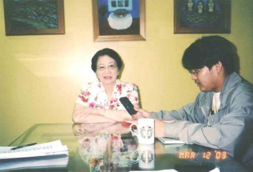 Ikaapat na Pagkikita:  Panayam para sa Communication 3 sa ilalim ni Prop. Melanie Moraga Leano sa Cojuangco and Sons Bldg., Makati, March 12, 2003.