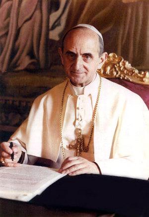 """Papa Paul VI, awtor ng Humanae Vitae.  Humingi siya ng tulong sa isang pilosopo upang isulat ang encyclical na ito, si Karol Cardinal Wojtyla na sumulat ng aklat na """"Love and Responsibility.""""  Siya ang magiging John Paul II."""