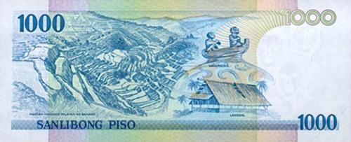 Mga Austronesian Cultural Landmarks:  Payo o hagdang-hagdang palayan, Langgal o Bahay Austronesyano at Disenyo ng Bangang Manunggul sa likuran ng isanlibong piso.
