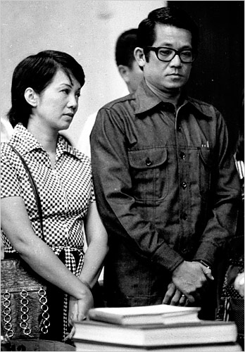 Ninoy and Cory during Ninoy's trial under Martial Law.