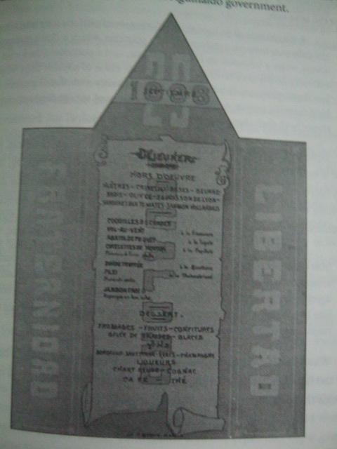 Menu ng piging para sa pagbubukas ng Kongreso ng Malolos na nasa Wikang Pranses., September 15, 1898.  Sosyal.  Mula kay Dr. Ambeth R. Ocampo.