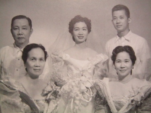 Ninoy and Cory with their parents Jose Sr. and  Demetria Cojuangco and Aurora Aquino during their wedding day, 11 October 1954.