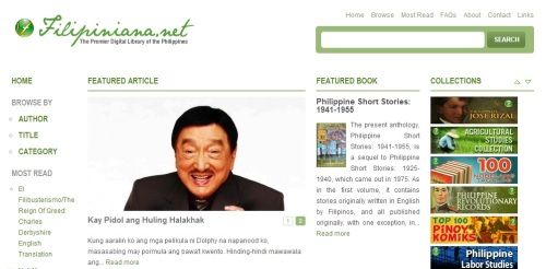 Filipiniana.net homepage.