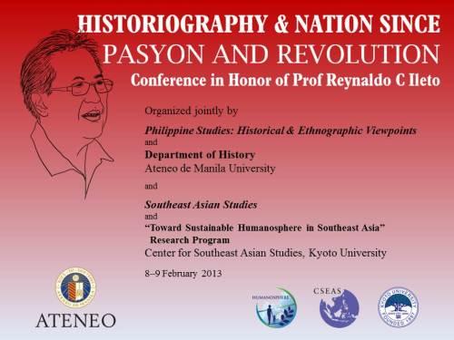 Opisyal na backdrop ng kumperensyang nagpupugay kay Dr. Reynaldo C. Ileto.  Rip-off ng pabalat ng pamosong libro.