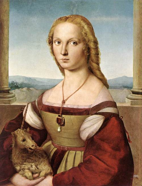 """Lady with Unicorn"", sinasabing larawan ni Giulia Farnese, paboritong kabit ni Alejandro VI at sinasabing ipininta ni Raphael."
