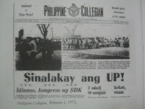 Frontpage ng Philippine Collegian noong Diliman Commune.  Mula sa Serve the People.