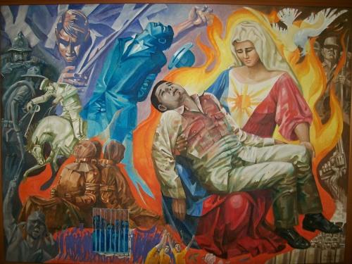 Pasyon at EDSA Revolution:  Si Ninoy at ang Inang Bayan bilang Pieta ng banal na mag-ina.  Regalo sa mga Aquino na nakalagak ngayon sa The Aquino Center sa San Miguel, Tarlac City.  Kuha ni Xiao Chua.