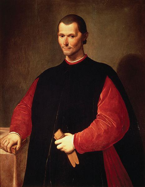 """Niccolò Machiavelli, awtor ng the Prince na inialay niya kay Cesare Borgia.  Ang aklat ang handbook ng mga diktador kung saan niya sinabi na """"The end justifies the means.""""  Mula sa Wikipedia."""