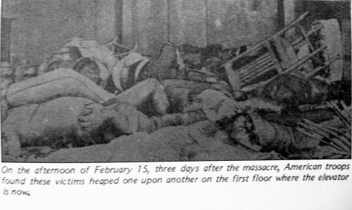 Ang patong-patong nakatawan sa hagdanan malapit sa Cellar.  Mula sa De La Salle, 1911-1986 ni Carlos Quirino.
