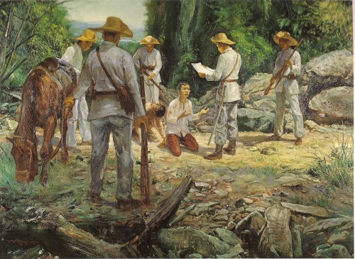 Ang pagpatay sa Supremo Bonifacio ang political killing na nagsilang sa pamamayani ng demokrasyang elit sa bansa.  Mula sa Encyclopedia of Philippine Art.