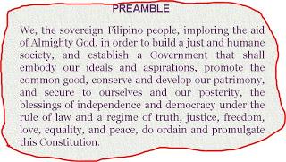 """Ang preambolo ng Saligang Batas ng 1987:  Mayroong salitang """"love."""