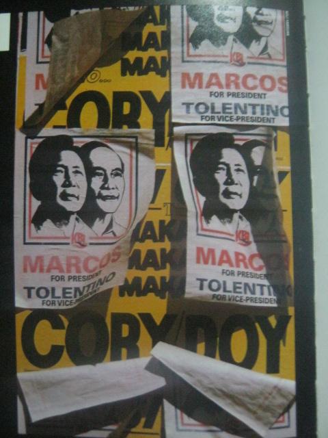 Ang medieval morality play ng masama at mabuti sa snap elections ng 1986:  Marcos-Tolentino, Cory-Doy.  Mula sa Bayan Ko!