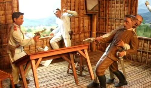 Pagkahuli ng mga Amerikano kay Hen. Aguinaldo, March 23, 1901.  Mula sa Ayala Museu,:  The Diorama Experience.