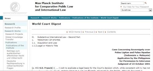 Ang pahina na nagtataglay ng opisyal na desisyon ng International Court of Justice ukol sa claim ng Pilipinas sa Sabah.  Mula sa http://www.mpil.de/ww/en/pub/research/details/publications/institute/wcd.cfm?fuseaction_wcd=aktdat&aktdat=201010200400.cfm