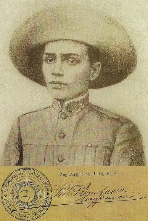 Andres Bonifacio, Unang pangulo ng Pamahalaang  Mapanghimagsik na itinatag noong August 24, 1896 .  Ibig sabihin gobyerno rebolusyunaryo na ito bago pa man ang Tejeros.  Mula sa Studio 5.