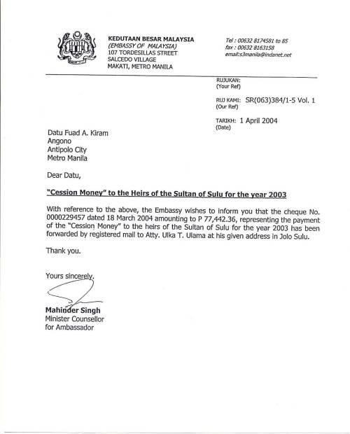 Katibayan ng pagbabayad ng Malaysia sa pamilya ni Sultan Jamalul Kiram III.