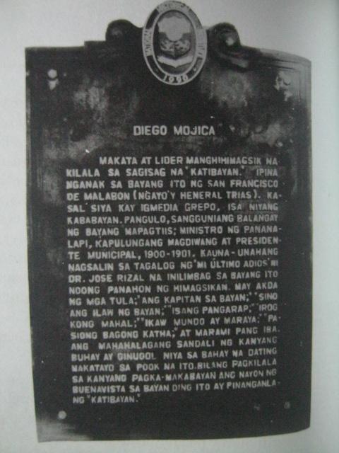 Panandang Pangkasaysayan para kay Diego Mojica.  Mula kay Isagani Medina.