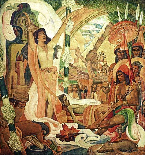 """Babaylan, ang manggagamot.  Detalye ng serye ng mural na """"History of Philippine Medicine""""  ni Carlos """"Botong"""" Francisco."""