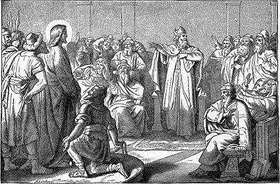 Si Hesus sa harap ng Sanhedrin.