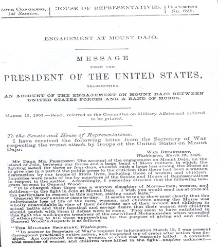 Pabatid ng Pangulo ng Estados Unidos Theodore Roosevelt matapos ang Labanan sa Bud Daho.